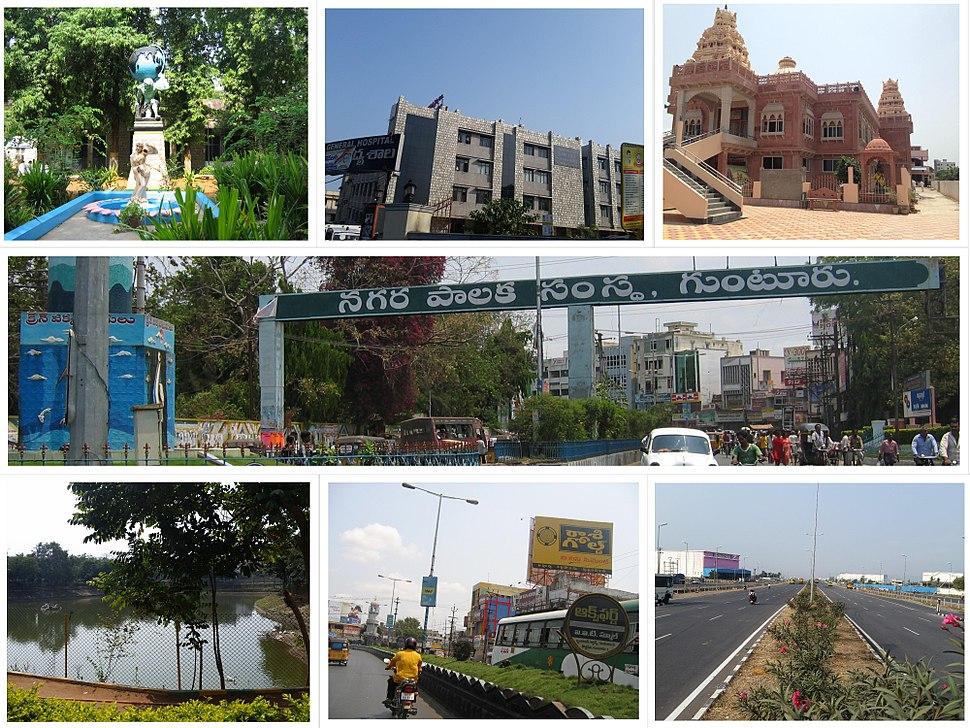 Clockwise from Top Left: Guntur Medical College, General Hospital, Iskon Temple, Guntur Municipal Corporation, Chuttugunta Center, One-Town Center, A park with pond in Gujjanagundla.