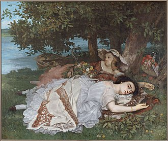 "Gustave Courbet - Young Ladies Beside the Seine (Summer), 1856, Petit Palais, Paris: one of the most famous of Courbet's paintings. ""The uncompromising emphasis on density and weight"""
