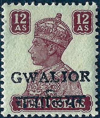 Gwalior - A King George VI stamp of 1949, inscribed 'GWALIOR'