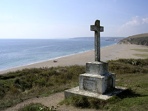 HMS Anson (1781) - HMS Anson monument at Loe Bar