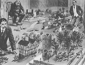 Strategy game - H. G. Wells playing Little Wars, published in The Illustrated London News, January 1913