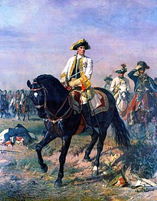 Painting of Austrian commander Ernst von Laudon on horseback, giving orders during the Battle of Kunersdorf