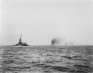 HMS Cardiff (D58) - Cardiff leading surrendered German battlecruisers into the Firth of Forth at the end of World War I