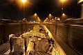 HMS Edinburgh Passes Through the Panama Canal at Night MOD 45153384.jpg