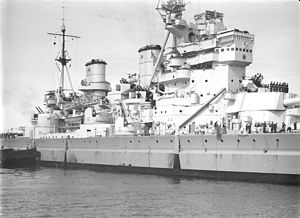 HMS King George V (41) - Midships in 1945