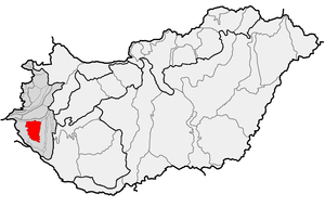 Göcsej - Göcsej (in red) as one of microregions within physical subdivisions of Hungary