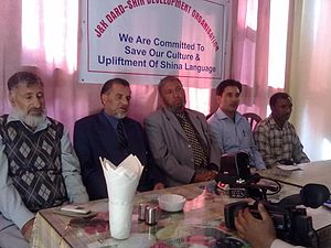 Gurez - Hajji Abdul Aziz Samoon(middle) at a press conference in Srinagar