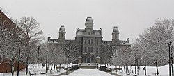 Hall of Languages in Snowstorm, Syracuse University.JPG