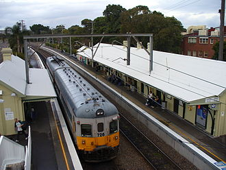 Newcastle railway line, New South Wales - 626/726 at Hamilton station in July 2006