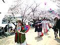 Hana shizume no matsuri in the row of cherry blossom trees (2012-Butterfly girl).JPG