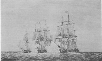 Continental Navy - Continental frigates Hancock and Boston capturing British frigate Fox, June 7, 1777