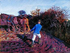 Peter Hansen (painter) - Image: Hansen Pløjemanden vender 1902a