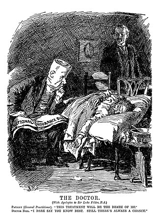 National Insurance Act 1911 - The Doctor by Luke Fildes used in a 1911 Punch cartoon commenting on the effects of the act.