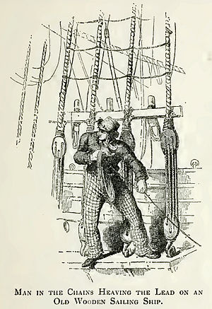 Chains (nautical) - Heaving the lead. A man standing in the chains.