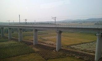 Hefei–Bengbu high-speed railway - Hefei–Bengbu high-speed railway near Bengbu South station