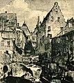 Heilbronn, sog. Maulbronner Hof in der Mosergasse (früher Kirchbrunnenstraße), auf der rechten Seite Steinhaus mit Staffelgiebel, um 1910.jpg