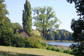 New Garden, Potsdam - View from the New Garden with Lake Heiliger See and the Red House