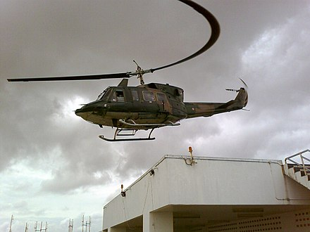 Distortion caused by a rolling shutter Helicopter taking off at Hat Yai Hospital, November 2010.jpg