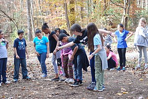 """The floor is lava - Swamp Crossing game where kids have to come up with a team strategy that will allow them to cross a """"swamp"""" using limited number of portable islands (boards) without drowning (touching the ground)."""