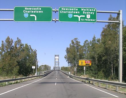 Hunter River bridge, Pacific Highway, Hexham, New South Wales is the largest of few surviving lift span bridges in NSW, still in working order. Hexham.JPG