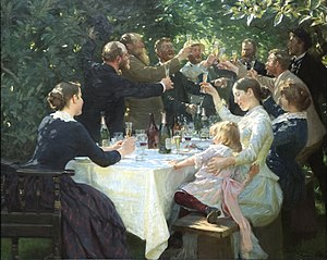 Toast (honor) - Hip, Hip, Hurrah! by Danish painter P.S. Krøyer, 1888
