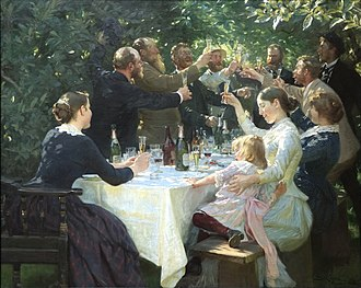 Party - Hip, Hip, Hurrah! (1888) by Peder Severin Krøyer, a painting portraying an artists' party in 19th century Denmark