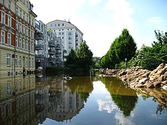2013 European floods - Flooding in Magdeburg city centre on the river Elbe