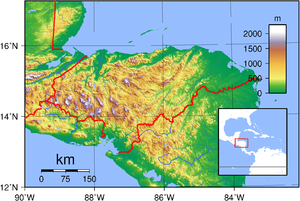 Outline of Honduras - An enlargeable topographic map of Honduras