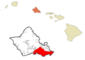 Honolulu County Hawaii Incorporated and Unincorporated areas Honolulu Highlighted.svg