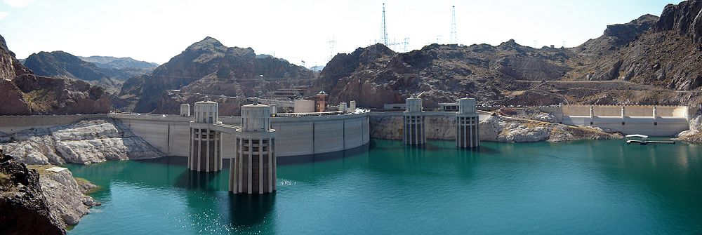 Hoover Dam panoramic view from the Arizona side showing the penstock towers and the Nevada-side spillway entrance