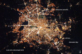 Geography of Houston - Astronaut photograph of Houston at night.