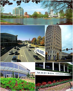 順時鐘方向,從上方開始: Big Spring Park, en:the Old Times Building, the Madison County Courthouse, the en:Von Braun Center, and Governors Drive