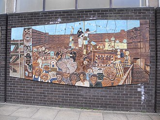 Hulme - Hulme Library mural detail, showing a Hulme Carnival in Charles Barry Crescent