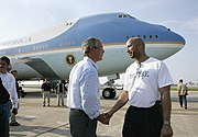 Bush shakes hands with New Orleans Mayor Ray Nagin on September 2, 2005 after viewing the devastation of Hurricane Katrina.