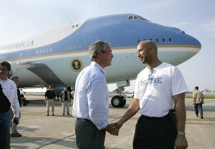 President Bush shaking hands with New Orleans Mayor Ray Nagin after viewing the devastation of Hurricane Katrina, September 2, 2005 Hurricane Katrina President Bush with New Orleans Mayor.jpg