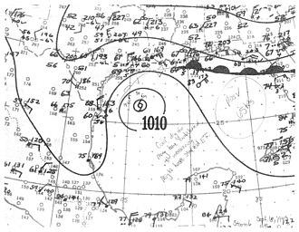 1943 Atlantic hurricane season - Image: Hurricane Six surface analysis 1943