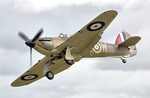 Roald Dahl - A Hawker Hurricane Mk 1 which was the aircraft type in which Dahl engaged in aerial combat over Greece.