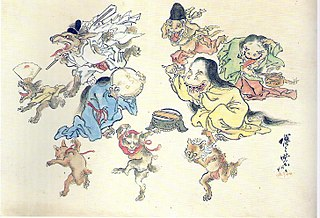 Mythical gathering of Japanese spirits