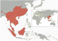 Hystrix brachyura - Distribution map.png