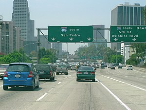 "Interstate 110 and State Route 110 (California) - The Harbor Freeway southbound entering ""The Slot"" after emerging from the ""4-level"""
