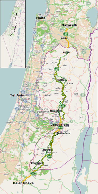 Highway 60 (Israel) - Highway 60 highlighted