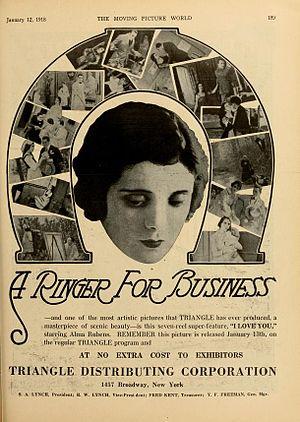 "Alma Rubens - Rubens as ""Felice"" in I Love You (1918)"