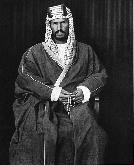 Abdulaziz Ibn Saud, the founding father and first king of Saudi Arabia. Ibn Saud (kuwait 1910).jpg