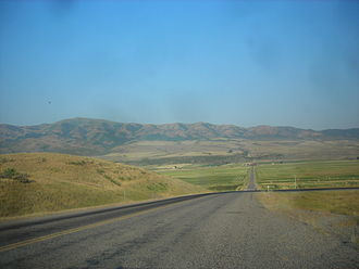 Idaho State Highway 40 - SH-40 traveling west through rural Bannock County towards I-15
