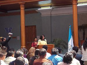 Quetzaltenango Department - Governor Dora Otilia Alcahé López giving her inauguration speech in Quetzaltenango in February 2012