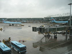 Korean Air flight taxiing out at Incheon Airport.