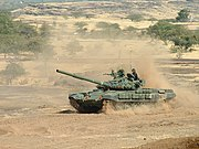 T-72 Ajeya during an exercise. The ERA bricks are visible