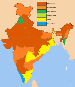 The BJP and its coalitions led state governments in a broad east–west stripe across the country. The INC and its coalitions led states in the east, northwest and southeast. Other parties led one to three states in various parts of the country.