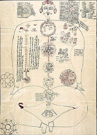 Kundalini yoga - Drawing in an Indic manuscript showing the seven subtle centres (cakra) with the body, the main subtle veins (nadi), and the coiled serpent energy at the base of the spine (kundalini).