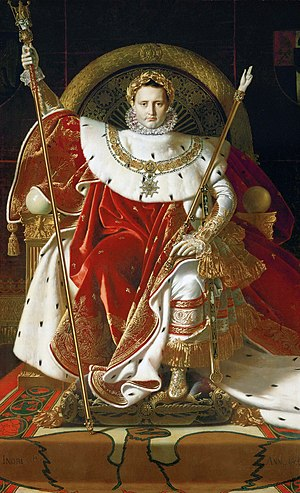 Crown of Napoleon - Napoleon on his Imperial throne (wearing his laurel leaf crown).  painting by Jean Auguste Dominique Ingres in 1806.